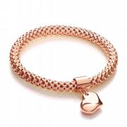 J-Jaz Rose Gold plated Sterling silver flexible mesh bracelet with heart charm